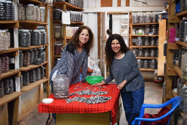 Debbie and I, sorting through loose beads and hand-picking our favorites for Pamba Toto creations