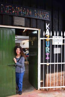 Debbie, my business partner, entering the workshop wing of Kazuri