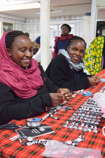 women from Kibera, East Africa's largest slum, hard at work in the Kazuri factory